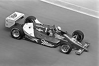 INDIANAPOLIS, IN - MAY 31: Danny Sullivan drives his March 86C 16/Cosworth during practice for the Indianapolis 500 USAC Indy Car race at the Indianapolis Motor Speedway in Indianapolis, Indiana, on May 31, 1986.