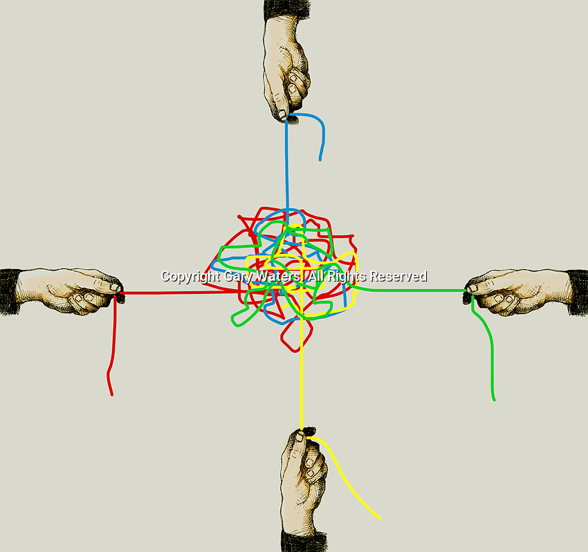 Four hands pulling different colored strings in tangled knot