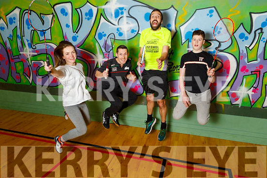 Ciara Walsh, Brian Horgan, Conor McAuliffe and Daithi Toomey members of the Ballybunion Base Liners badminton club raving to go, as they are hosting a fundraising dance for their badminton club on the 21st March.