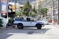 Pictured: A police car in Malia, Crete, Greece. STOCK PICTURE<br /> Re: Police have found the remains of the body in a well near a cemetery in Malia, on the Greek island of Crete with local news outlets speculating that it maybe that of 20 year old Briton Steven Cook who went missing on the 1st of September 2005. A disposable camera and a belt were reportedly found next to the remains.