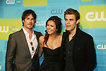 Guiding Light's Paul Wesley poses with Ian Somerhalder and Nina Dobrev as they star in The Vampire Diaries at The CW Upfront 2010 green carpet arrivals on May 20, 2010 at Madison Square Gardens, New York, New York. (Photo by Sue Coflin/Max Photos)