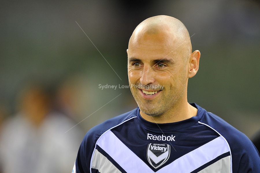 MELBOURNE, AUSTRALIA - MAY 4, 2011: Kevin Muscat of the Victory  enters the stadium in his last match in Australia during the AFC Champions League Group E match between Melbourne Victory and Gamba Osaka at Etihad Stadium on May 4, 2011 in Melbourne, Australia. Photo Sydney Low / Asteriskimages.com