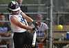 Tonianne Larson #14, Long Beach pitcher, connects for a two-run triple in the bottom of the third inning to break a 3-3 tie with East Meadow in Game 2 of the best-of-three Nassau County varsity softball Class AA final at Mitchel Athletic Complex on Wednesday, May 24, 2017. Long Beach never relinquished the lead and went on to win 8-6 to even the series 1-1.