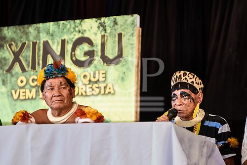 Rio de Janeiro, Brazil. Imperatriz Leopoldinense samba school; preparations for carnival. Tafukumã Kalapalo and Pajé Sapaim Kamayurá on the press conference panel.