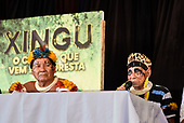 Rio de Janeiro, Brazil. Imperatriz Leopoldinense samba school; preparations for carnival. Tafukumã Kalapalo and Pajé Sapaim Kamayurá on the press conference panel.