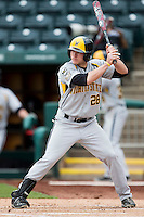 Garrett Bayliff #28 of the Wichita State Shockers at bat during a game against the Missouri State Bears at Hammons Field on May 5, 2013 in Springfield, Missouri. (David Welker/Four Seam Images)