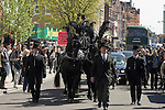 The funeral of the late music manager and punk pioneer Malcolm McLaren in London this afternoon..