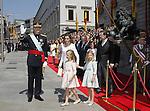 Coronation ceremony in Madrid. King Felipe VI of Spain and Queen Letizia of Spain at Congreso de los Diputados with their children Princess Leonor and enfant Sofía. June 19 ,2014. (ALTERPHOTOS/EFE/Pool)