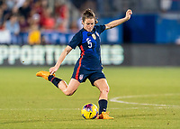 FRISCO, TX - MARCH 11: Kelley O'Hara #5 of the United States crosses the ball during a game between Japan and USWNT at Toyota Stadium on March 11, 2020 in Frisco, Texas.