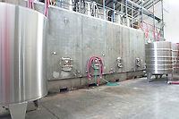 Domaine Peyre Rose, St Pargoire. Gres de Montpellier. Languedoc. Stainless steel fermentation and storage tanks. Concrete fermentation and storage vats. France. Europe.