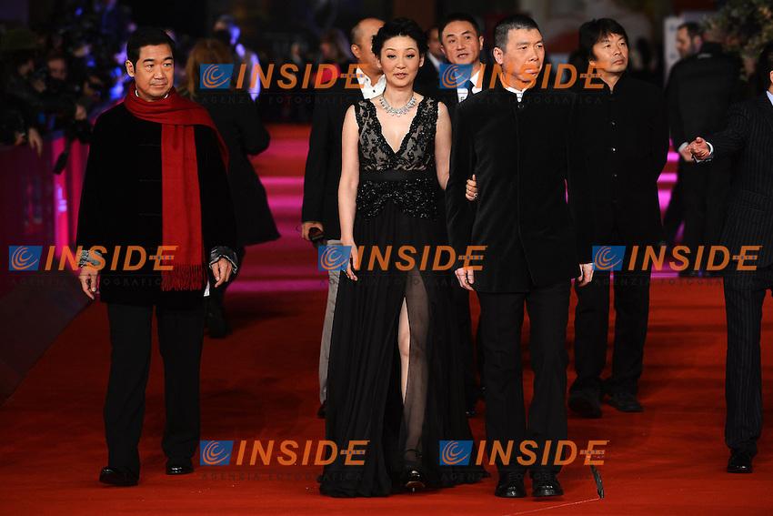 """Actor Zhang Guo Li, actress  Xu Fan, director Feng Xiaogang  - Movie """"1942"""".Roma 9/11/2012 Auditorium.Festival del Cinema di Roma.Foto Guido Aubry Elipics"""