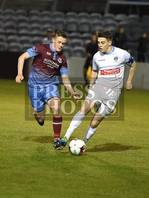 Drogheda United Richie Purdy UCD Gary O'Neill. Photo:Colin Bell/pressphotos.ie