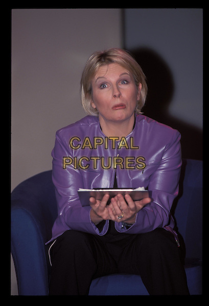 JENNIFER SAUNDERS.Ref:10160.sitting, purple leather jacket, half-length, half length.RAW SCAN - PHOTO WILL BE ADJUSTED FOR PUBLICATION.www.capitalpictures.com.sales@capitalpictures.com.©Capital Pictures.