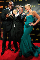 BURBANK - APR 26: Kevin Frazier, Brad Bessey, Nancy O'Dell at the 42nd Daytime Emmy Awards Gala at Warner Bros. Studio on April 26, 2015 in Burbank, California