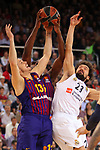 Turkish Airlines Euroleague 2018/2019. <br /> Regular Season-Round 24.<br /> FC Barcelona Lassa vs R. Madrid: 77-70. <br /> Thomas Heurtel, Chris Singleton & Sergio Llull.