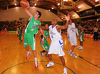 Jets guard JeremiahTrueman intercepts a pass to Kareem Johnson. NBL  - Manawatu Jets  v Wellington Saints at Arena Manawatu, Palmerston North, New Zealand on Friday 17 June 2011. Photo: Dave Lintott / lintottphoto.co.nz