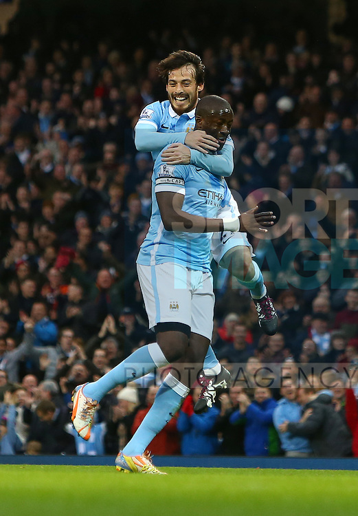 David Silva congratulates Yaya Toure of Manchester City on his goal - Manchester City vs Sunderland - Barclays Premier League - Etihad Stadium - Manchester - 26/12/2015 Pic Philip Oldham/SportImage