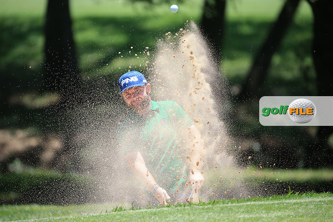 Andy Sullivan(ENG) finds the bunker on the 8th  during Round Two of the 2016 BMW SA Open hosted by City of Ekurhuleni, played at the Glendower Golf Club, Gauteng, Johannesburg, South Africa.  08/01/2016. Picture: Golffile | David Lloyd<br /> <br /> All photos usage must carry mandatory copyright credit (&copy; Golffile | David Lloyd)