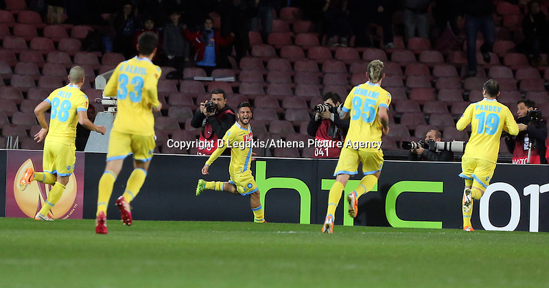 Thursday 27 February 2014<br /> Pictured: Lorenzo Insigne of Napoli (C) celebrating his opening goal.<br /> Re: UEFA Europa League, SSC Napoli v Swansea City FC at Stadio San Paolo, Naples, Italy.