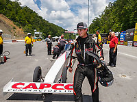 Jun 17, 2017; Bristol, TN, USA; NHRA top fuel driver Steve Torrence during qualifying for the Thunder Valley Nationals at Bristol Dragway. Mandatory Credit: Mark J. Rebilas-USA TODAY Sports