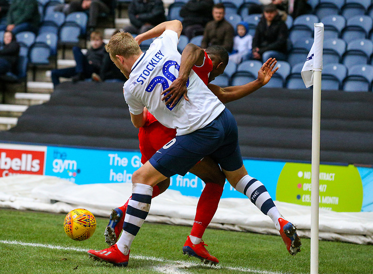 Preston North End's Jayden Stockley battles with Nottingham Forest's Tendayi Darikwa<br /> <br /> Photographer Alex Dodd/CameraSport<br /> <br /> The EFL Sky Bet Championship - Preston North End v Nottingham Forest - Saturday 16th February 2019 - Deepdale Stadium - Preston<br /> <br /> World Copyright © 2019 CameraSport. All rights reserved. 43 Linden Ave. Countesthorpe. Leicester. England. LE8 5PG - Tel: +44 (0) 116 277 4147 - admin@camerasport.com - www.camerasport.com
