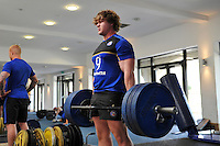 Nick Auterac in the gym. Bath Rugby pre-season training on July 21, 2015 at Farleigh House in Bath, England. Photo by: Patrick Khachfe / Onside Images