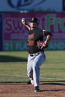 Ben Lively #25 of the Bakersfield Blaze warms up before pitching against the Lancaster JetHawks at The Hanger on May 13, 2014 in Lancaster California. Lancaster defeated Bakersfield, 1-0. (Larry Goren/Four Seam Images)