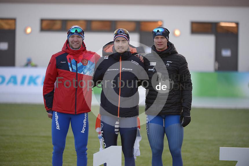 SPEED SKATING: COLLALBO: Arena Ritten, 11-01-2019, ISU European Speed Skating Championships, Victor Lobas (RUS), Kai Verbij (NED), Håvard Holmefjord Lorentzen (NOR), ©photo Martin de Jong