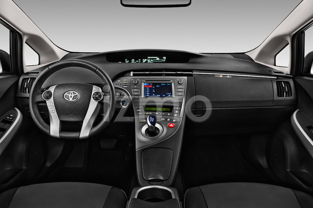 Stock photo of straight dashboard view of 2015 Toyota Prius Comfort 5 Door Hatchback Dashboard