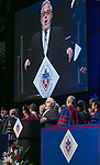 John Concepcion sings the national anthem Sunday, June 11, 2017, during the DePaul University College of Science and Health and College of Liberal Arts and Social Sciences commencement ceremony at the Allstate Arena in Rosemont, IL. (DePaul University/Jamie Moncrief)