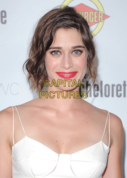 Lizzy Caplan.'Bachelorette' film premiere at The Arclight Theatre in Hollywood, California, USA..23rd August 2012.headshot portrait red pink lipstick white .CAP/DVS.©DVS/Capital Pictures.