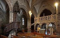 Europe/France/Bretagne/29/Finistère/Le Folgoêt: La basilique Notre-Dame- La nef et le jubé du 15 ème siècle