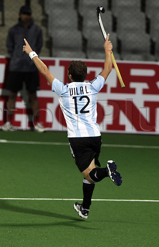 03.05.2010.Delhi,India.FIH World Cup Field Hockey.Germany verses Argentina. Argentina,s Martin Lucas Villa celebrate after scoring a goal against Germany  the group A match at the International  Field Hockey World Cup 2010 in New Delhi.Photo: Pankaj Nangia/Actionplus - Editorial Use.