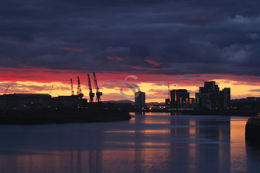 The River Clyde and Govan from Pacific Quay at sunset, Glasgow<br /> <br /> Copyright www.scottishhorizons.co.uk/Keith Fergus 2011 All Rights Reserved