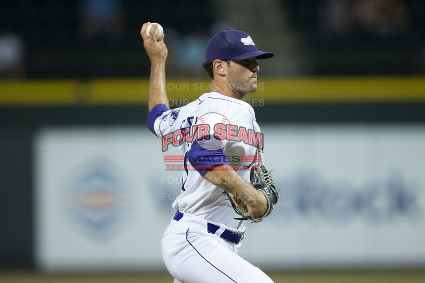 Winston-Salem Dash relief pitcher Louie Lechich (21) in action against the Potomac Nationals at BB&T Ballpark on August 5, 2017 in Winston-Salem, North Carolina.  The Dash defeated the Nationals 6-0.  (Brian Westerholt/Four Seam Images)