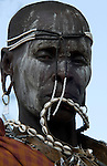 Woman with face painted and wearing shell headband, Mursi Tribe, Mago National Park, Lower Omo Valley, Ethiopia, portrait, person, one, tribes, tribal, indigenous, peoples, Southern, ethnic, rural, local, traditional, culture, primitive,.Africa....