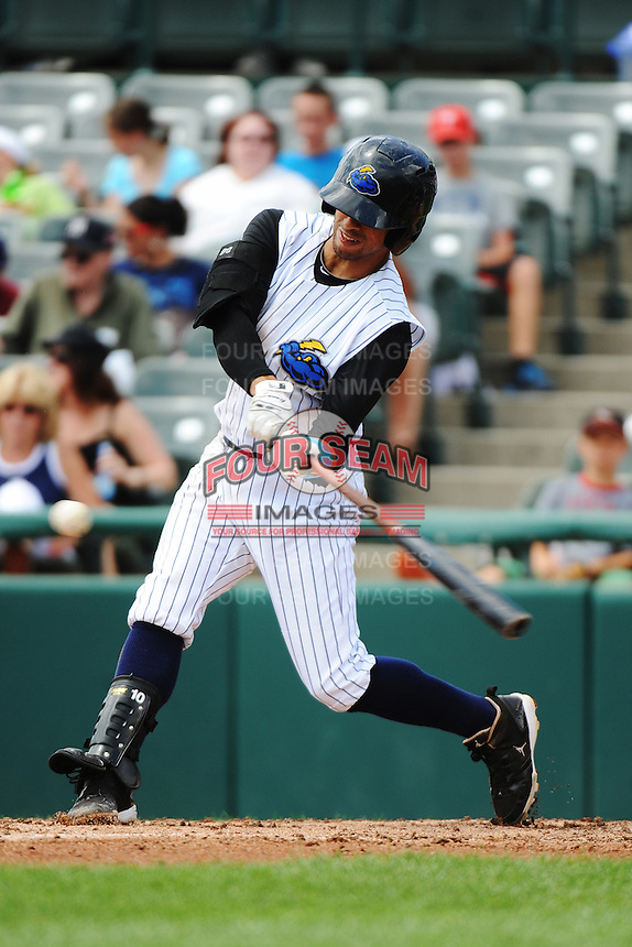 Trenton Thunder infielder Reegie Corona (7) during game against the Reading Fightin Phils at ARM & HAMMER Park on July 8, 2013 in Trenton, NJ.  Trenton defeated Reading 10-6.  (Tomasso DeRosa/Four Seam Images)