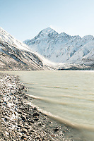 Aoraki Mount Cook 3724m, highest mountain in New Zealand with Hooker Glacier lake in winter, Aoraki Mt. Cook National Park, Mackenzie Country, UNESCO World Heritage Area, New Zealand, NZ