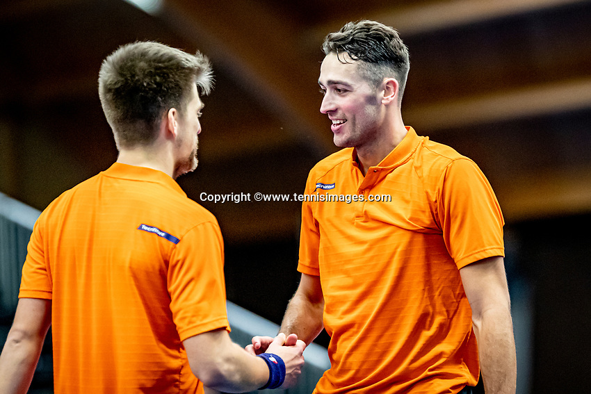 Alphen aan den Rijn, Netherlands, December 21, 2019, TV Nieuwe Sloot,  NK Tennis, Men's doubles final:  Sander Arends (NED) and David Pel (NED) (R) celebrate their win	<br /> Photo: www.tennisimages.com/Henk Koster