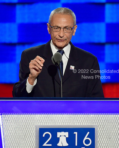 John Pedesta, Clinton Campaign Chair, makes remarks at the 2016 Democratic National Convention at the Wells Fargo Center in Philadelphia, Pennsylvania on Monday, July 25, 2016.<br /> Credit: Ron Sachs / CNP<br /> (RESTRICTION: NO New York or New Jersey Newspapers or newspapers within a 75 mile radius of New York City)