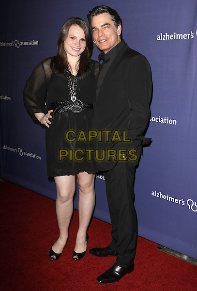 "KATHRYN & PETER GALLAGHER.18Th Annual ""A Night at Sardi's"" Benefitting The Alzheimer's Association held At The Beverly Hilton Hotel, Beverly Hills, California, USA..March 18th, 2010.full length black suit dress sheer hand on hip father dad daughter family .CAP/ADM/KB.©Kevan Brooks/AdMedia/Capital Pictures."