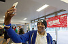 Crisis at Christmas, London, Great Britain <br /> 23rd December 2016 <br /> <br /> Tony from Hackney talking a selfie with a Selfie hat on !<br /> <br /> First day of operations at one of the Crisis centres in London.<br /> <br /> Crisis at Christmas is a lifeline for thousands of homeless people across the UK, offering support, companionship and vital services over the festive period.<br />  <br /> Crisis at Christmas provides immediate help for homeless people at a critical time - one in four homeless people spends Christmas alone - but our work does not end there. We encourage guests to take up the life-changing opportunities on offer all year round at our centres across the country. <br />  <br /> Crisis is the national charity for homeless people.<br /> <br /> Crisis reveals scale of violence and abuse against rough sleepers as charity opens its doors for Christmas<br /> <br /> People sleeping on the street are almost 17 times more likely to have been victims of violence and 15 times more likely to have suffered verbal abuse in the past year compared to the general public, according to new research from Crisis, the national charity for homeless people.<br />  <br /> <br /> Photograph by Elliott Franks <br /> Image licensed to Elliott Franks Photography Services