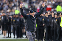 Philadelphia, PA - December 8, 2018:   Army Black Knights head coach Jeff Monken pumps up crowd during the 119th game between Army vs Navy at Lincoln Financial Field in Philadelphia, PA. (Photo by Elliott Brown/Media Images International)