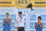 Soren Kragh Anderson (DEN) Team Sunweb retains the young riders White Jersey on the podium at the end of Stage 9 of the 2018 Tour de France running 156.5km from Arras Citadelle to Roubaix, France. 15th July 2018. <br /> Picture: ASO/Pauline Ballet | Cyclefile<br /> All photos usage must carry mandatory copyright credit (&copy; Cyclefile | ASO/Pauline Ballet)