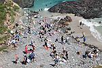 Crowded pebble beach,  Kynance Cove, Lizard peninsula, Cornwall, England, UK