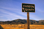 Bullet-riddled Custer County sign, Colorado