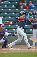 Brett Netzer (13) of the Salem Red Sox follows through on his swing against the Winston-Salem Dash at BB&T Ballpark on April 21, 2018 in Winston-Salem, North Carolina.  The Dash walked-off the Red Sox 4-3.  (Brian Westerholt/Four Seam Images)