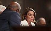 House minority Leader Nancy Pelosi reacts as US President Donald J. Trump delivers his first address to a joint session of Congress from the floor of the House of Representatives in Washington, DC, USA, 28 February 2017.  Traditionally the first address to a joint session of Congress by a newly-elected president is not referred to as a State of the Union.<br /> Credit: Jim LoScalzo / Pool via CNP