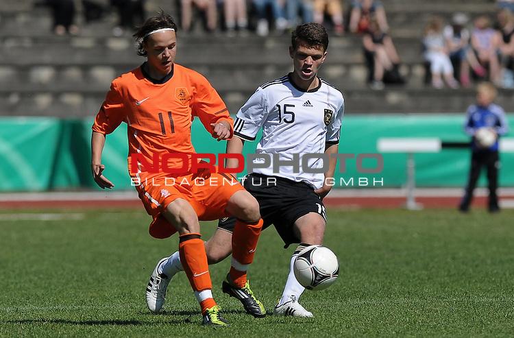 24.05.2012, Stadion am Berliner Ring, Verden, GER, FSP, LS U15, Deutschland (GER) vs Niederlande (NED), im Bild Anthony Berenstein (NED #11, FC Utrecht), Ole P&auml;ffgen / Paeffgen (GER #15, Bayer 04 Leverkusen)<br /> <br /> // during the match Germany vs Netherlands 2012/05/24, Stadion am Berliner Ring, Verden, Germany.<br /> Foto &copy; nph / Frisch *** Local Caption ***