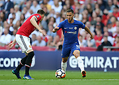 19th May 2018, Wembley Stadium, London, England; FA Cup Final football, Chelsea versus Manchester United; Eden Hazard of Chelsea is covered by Phil Jones of Manchester United